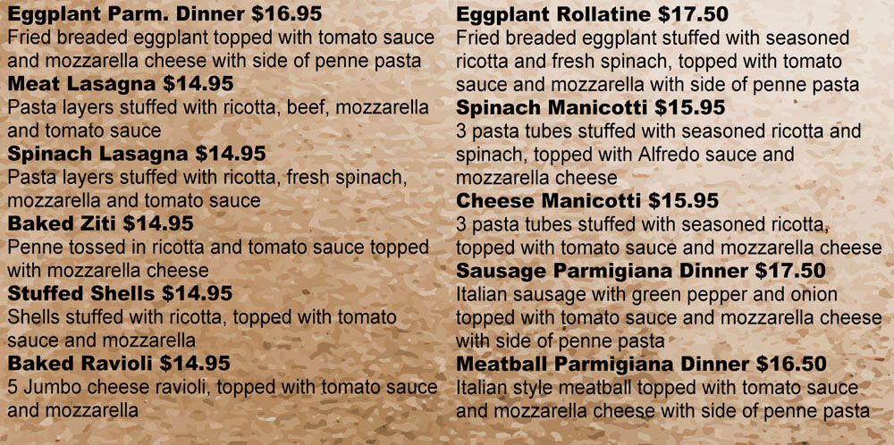 italian dinners ravioli lasagna manicotti